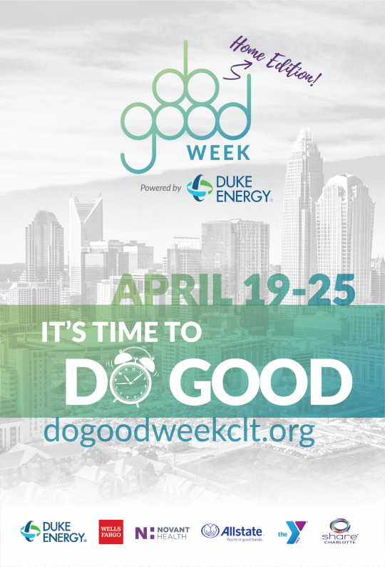 """It's time to do good"" with Charlotte City Skyline in background"