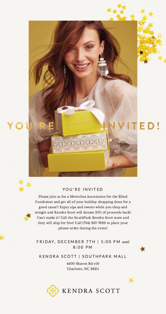 Woman holding the signature Kendra Scott yellow gift boxes.  All text on invite is noted above. Kendra Scott logo on the bottom.