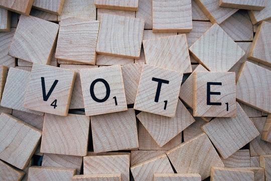 "the word ""vote"" on blocks"